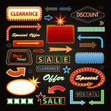Retro Showtime Signs Design Elements Set. Bright Royalty Free Stock Photos