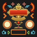 Retro Showtime Signs Design Elements Set. Bright Royalty Free Stock Images
