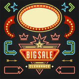 Retro Showtime Signs Design Elements Set. Bright Billboard Signage Light Bulbs Royalty Free Stock Image