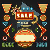 Retro Showtime Signs Design Elements Set. Bright Billboard Signage Light Bulbs, Frames, Arrows, Icons, Neon Lamps. American advertisement style vector Royalty Free Stock Photos