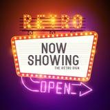 Retro Showtime teckenvektor Arkivbild
