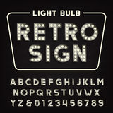 Retro sign alphabet. Vintage light bulb type letters and numbers. Signboard vector font Stock Photo