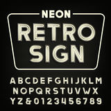 Retro sign alphabet. Vintage neon tube type letters and numbers. Royalty Free Stock Photography
