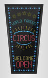 Retro sign with blue lights and the word circus Stock Image