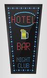 Retro sign with blue lights and the word hotel on bar Royalty Free Stock Photo