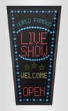 Retro sign with blue lights and the word live show Royalty Free Stock Photos