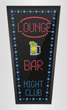 Retro sign with blue lights and the word lounge on bar Royalty Free Stock Images