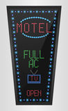 Retro sign with blue lights and the word motel Royalty Free Stock Images