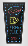 Retro sign with blue lights and the word poker club Royalty Free Stock Image