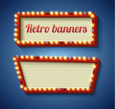 Retro sign with glowing lamps Stock Images