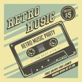 Retro Signage van de Muziek Compacte Cassette Uitstekende Affichevector royalty-vrije illustratie