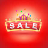Retro signboard with circus tent. Vector retro banners for sale. vintage billboard, bright signboard, light banner Royalty Free Stock Photography