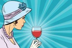 Retro signora con un bicchiere di vino illustrazione di stock