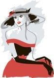 Retro signora in un cappello Fotografia Stock Libera da Diritti
