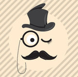 Retro, signore d'annata in un cilindro del cappello con i baffi ed icona del monocolo su fondo di colore chiaro Fotografia Stock Libera da Diritti