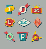 Retro signs alphabet. Letters on vintage style signs Stock Photography