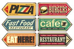 Vintage sign posts set for cafe, pizza, burger and fast food restaurant. Retro signs collection. Vintage sign posts set for cafe, pizza, burger and fast food royalty free illustration