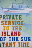 Retro signs for local ferry services, Titicaca lake, Bolivia. Vintage signs for local ferry services painted on wall on the Titicaca lake harbor in Copacabana stock photo