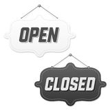 Retro signs Open and Closed. Vector illustration Stock Image