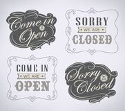 Retro signs Open and Closed. Vector illustration. Royalty Free Stock Photography