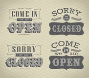 Retro signs Open and Closed. Vector illustration. Royalty Free Stock Images