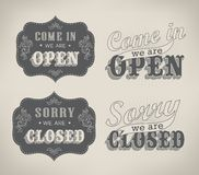 Retro signs Open and Closed. Vector illustration. Royalty Free Stock Photo