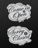 Retro signs Open and Closed. Vector illustration. Stock Images