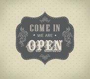 Retro signs Open and Closed. Vector illustration. Stock Photo