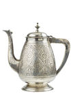 Retro- silberne Teekanne, Krug getrennt Lizenzfreies Stockbild