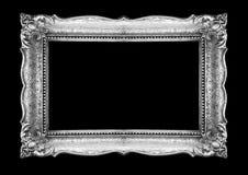 Retro- silberner Bilderrahmen auf schwarzem Hintergrund Stockbilder