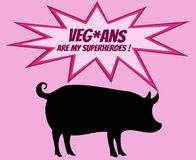 Retro silhouette of pig with comics icons with vegetarian slogan Royalty Free Stock Photography