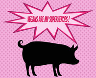 Retro silhouette of pig with comics icons with vegetarian slogan Royalty Free Stock Image