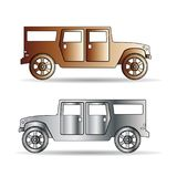 Retro Silhouette of two cars metallic color, cartoon on white ba Stock Photography