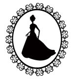 Retro silhouette woman in frame Royalty Free Stock Image