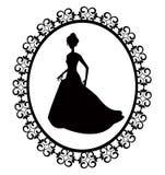 Retro silhouette woman in frame vector illustration