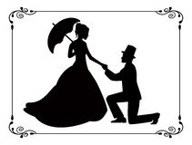 Retro silhouettes of people in love in a frame. Silhouettes of woman in a long dress and a man kneeling. Silhouettes in retro frame Royalty Free Stock Photos