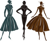 Retro silhouettes Royalty Free Stock Images