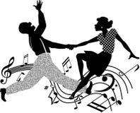 Retro siluetta di dancing Immagini Stock