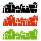 Retro siluette dei regali di Natale illustrazione di stock