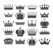 Retro siluette della corona illustrazione di stock