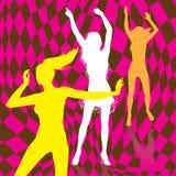 Retro siluette della ragazza di dancing illustrazione di stock