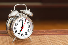 Retro silver alarm clock Royalty Free Stock Images
