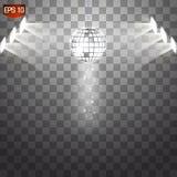 Retro silver disco ball vector, shining club symbol of having fun, dancing, dj mixing, nostalgic party, entertainment. Illustration on transparent background vector illustration
