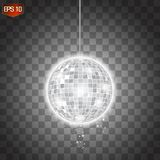 Retro Silver Disco Ball Vector, Shining Club Symbol Of Having Fun, Dancing, Dj Mixing, Nostalgic Party, Entertainment. Stock Photo