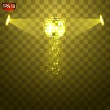 Retro Silver Disco Ball Vector, Shining Club Symbol Of Having Fun, Dancing, Dj Mixing, Nostalgic Party, Entertainment. Royalty Free Stock Images