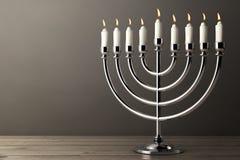 Retro Silver Hanukkah Menorah with Burning Candles. 3d Rendering. Retro Silver Hanukkah Menorah with Burning Candles on a wooden table. 3d Rendering