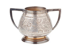 Retro silver sugar bowl, isolated Royalty Free Stock Photos