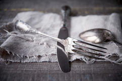 Retro silverware Stock Photo