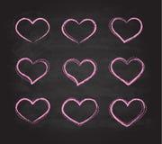 Retro simboli del cuore di vettore del gesso di lerciume dello scarabocchio Fotografie Stock Libere da Diritti