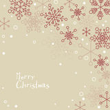 Retro simple Christmas card with snowflakes Royalty Free Stock Image